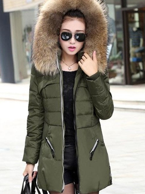 Zipper Zipper Slim Mid-Length Cotton Padded Jacket