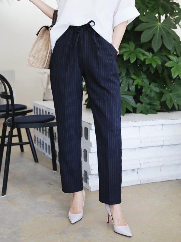 Size M Stripe Pocket Slim Straight Ankle Length Casual Pants