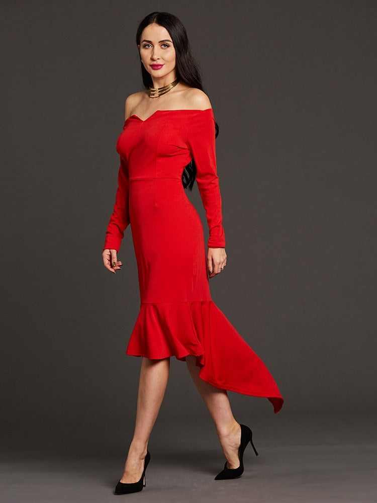 Size M Nine Points Sleeve Floor-Length Asymmetric Pullover Asymmetrical Dress