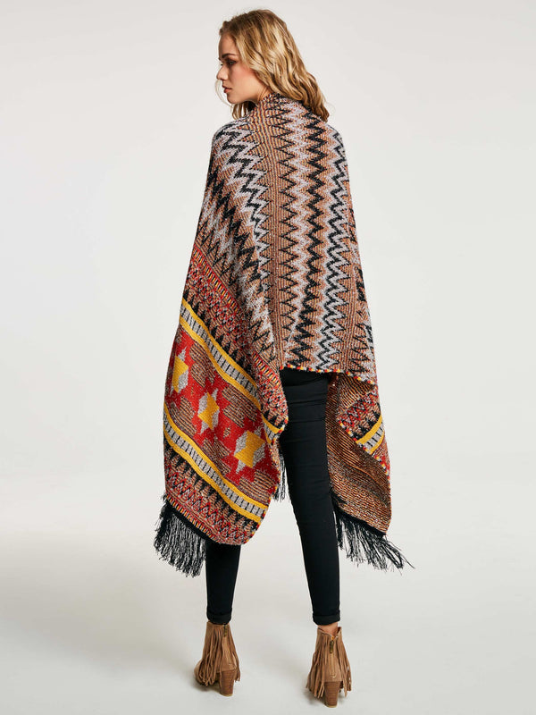 Ethnic Acrylic Geometric Winter Cape