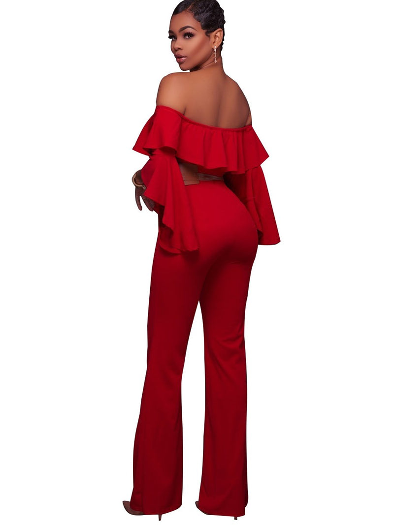 Size L Plain Falbala Full Length Mid Waist Slim Jumpsuit
