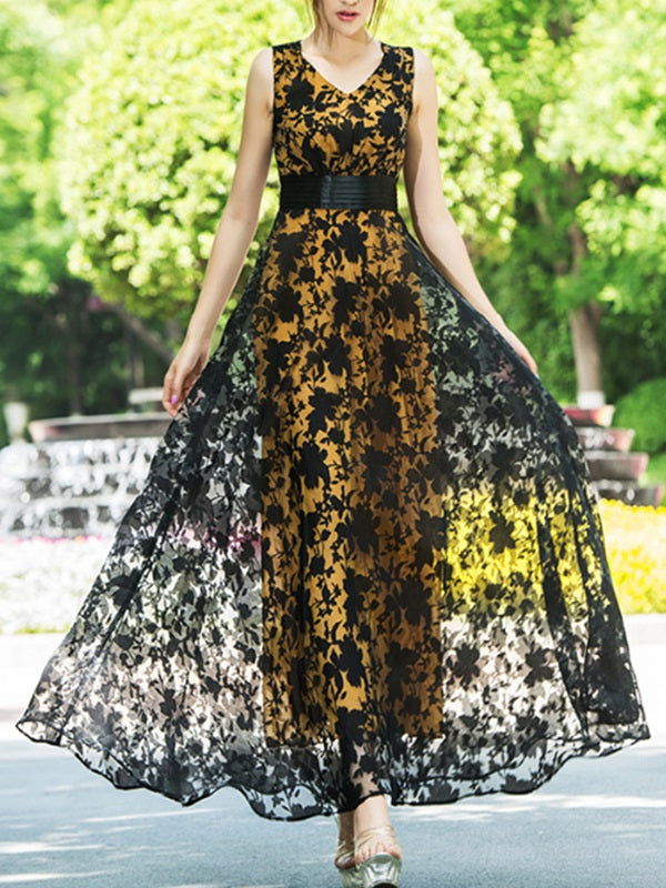 Size L XL Ankle-Length Print V-Neck High Waist Expansion Dress