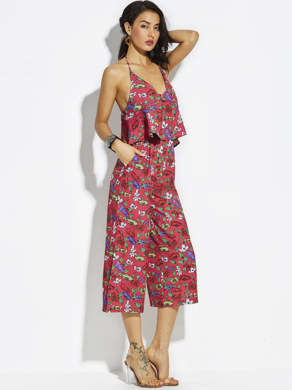 Floral Ankle Length Print Loose Wide Legs Jumpsuit