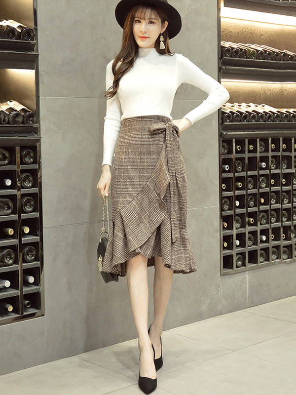 Size M Skirt Falbala Houndstooth Pullover Asymmetrical Two Piece Sets