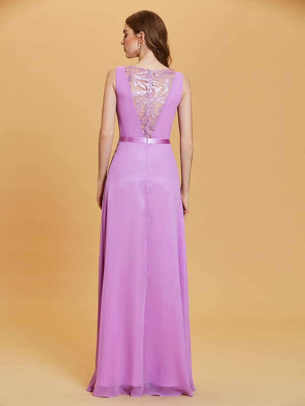 Purple Sleeveless Sequins A-Line Evening Party Dress
