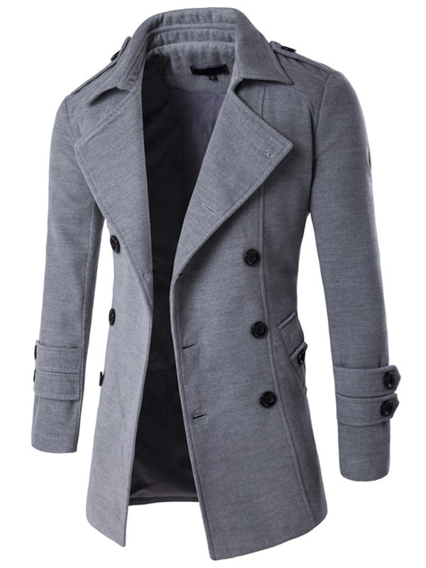 Size L 2XL Plain Mid-Length Lapel Slim Double-Breasted Coat
