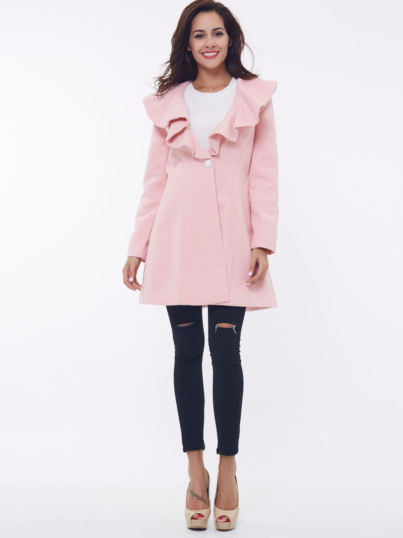 Size S Falbala Mid-Length Single-Breasted Winter Long Sleeve Petite Trench Coat