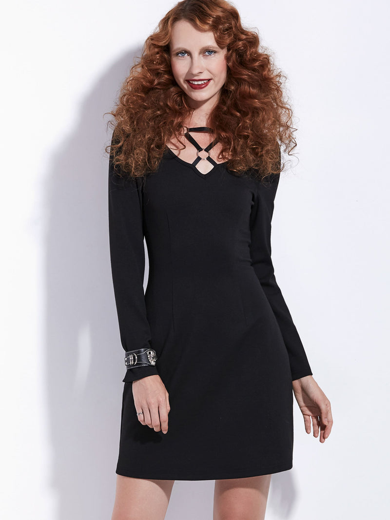 Plus Size 2XL Long Sleeve Knee-Length A-Line Zipper Dress