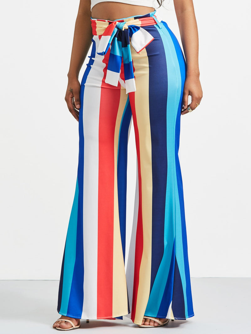 Size M Loose Stripe Wide Legs High Waist Casual Pants