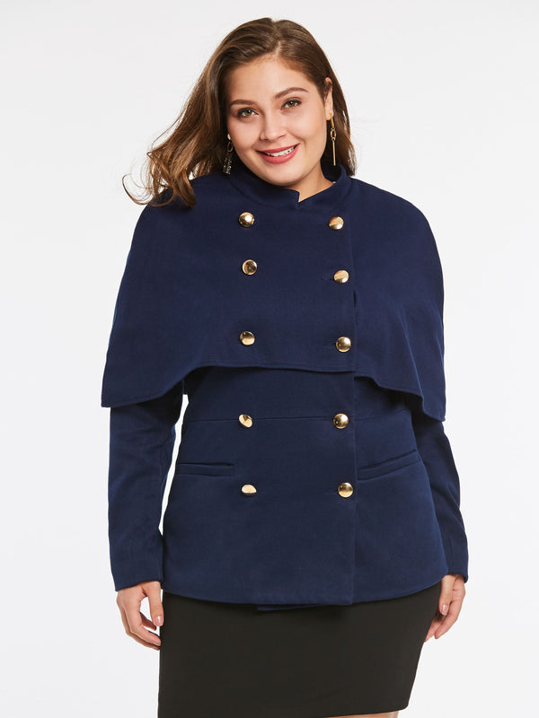 Size L Long Sleeve Double-Breasted Cape Regular Mid-Length Jacket