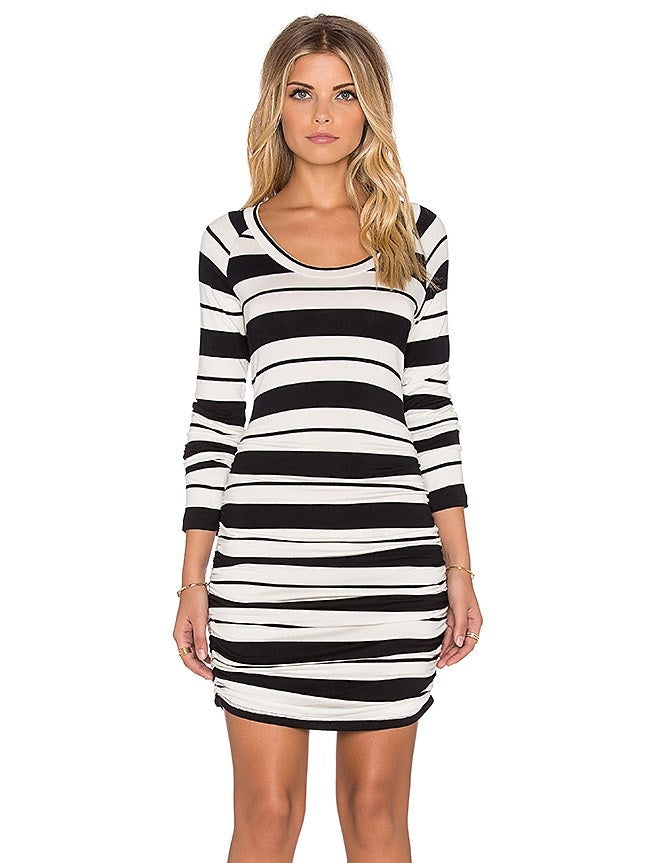Round Neck Long Sleeve Above Knee Stripe Regular Dress