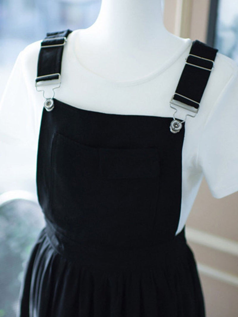 Size S Dress Suspenders Plain Pullover Expansion Petite Two Piece Sets