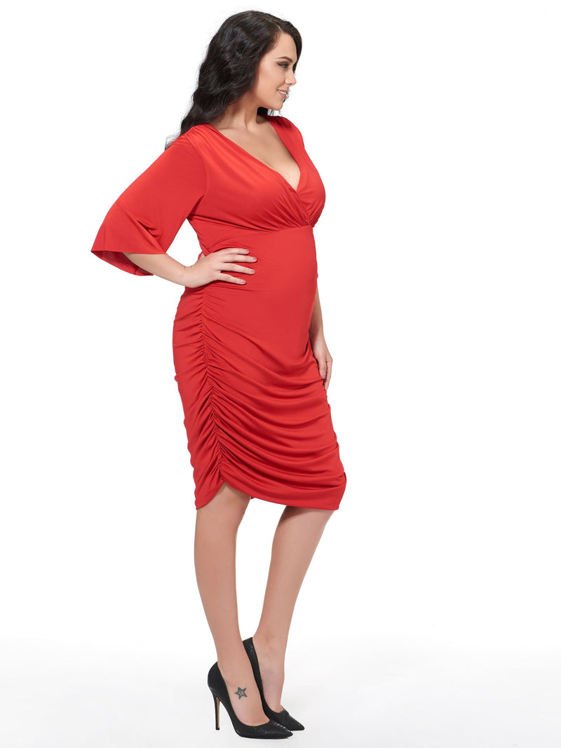 Plus Size Mid-Calf V-Neck Short Sleeve Bodycon Plain Dress