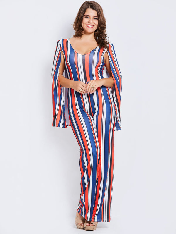 Size L Full Length Stripe Slim Wide Legs Jumpsuit
