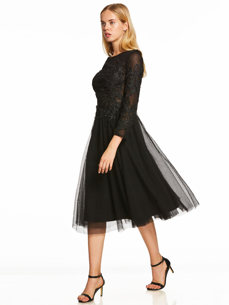 Size US10 US14 Appliques Black Long Sleeves Tea-Length Formal Party Dress
