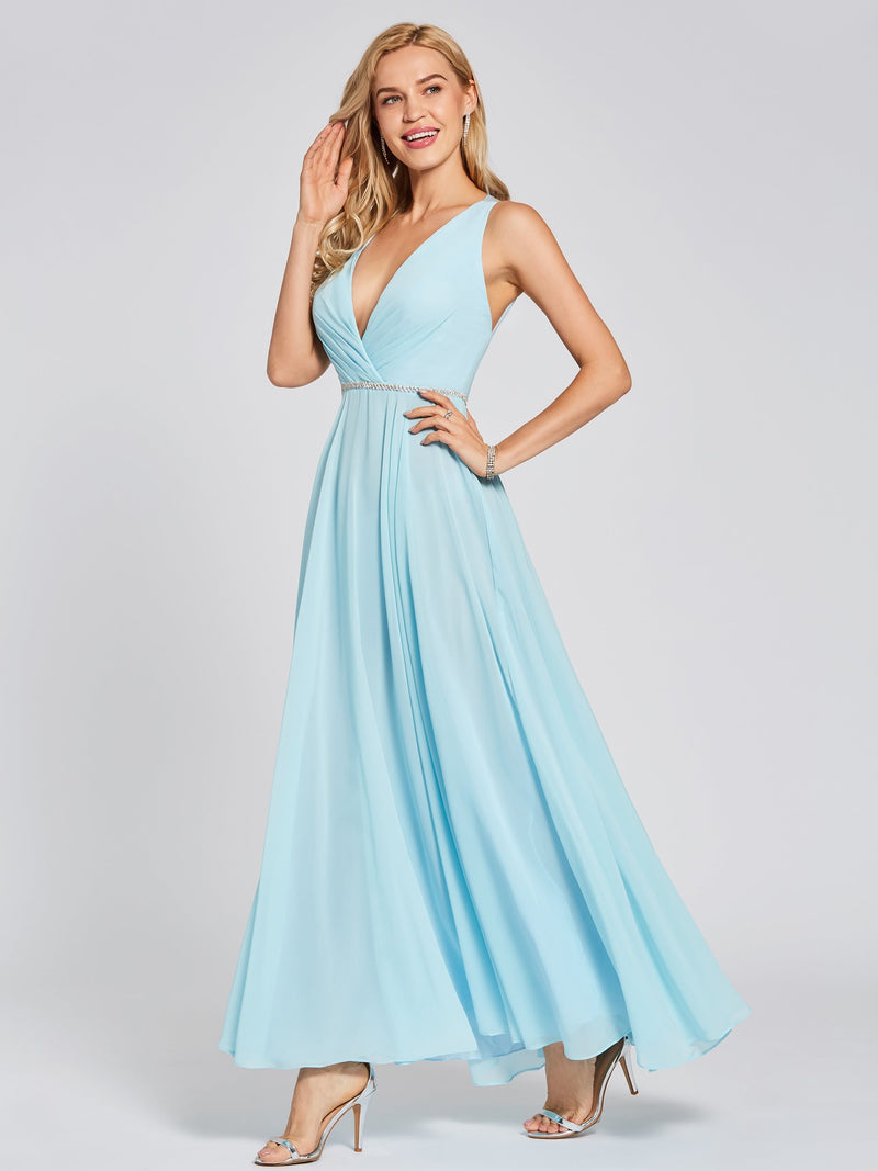 Size US16 A-Line Sashes/Ribbons Sleeveless Ankle-Length Evening Party Dress