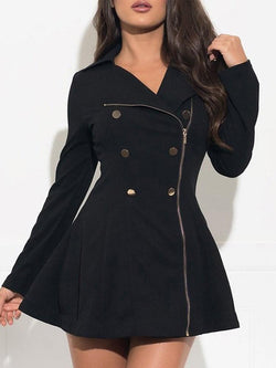 Slim Regular Asymmetric Mid-Length Lapel Overcoat