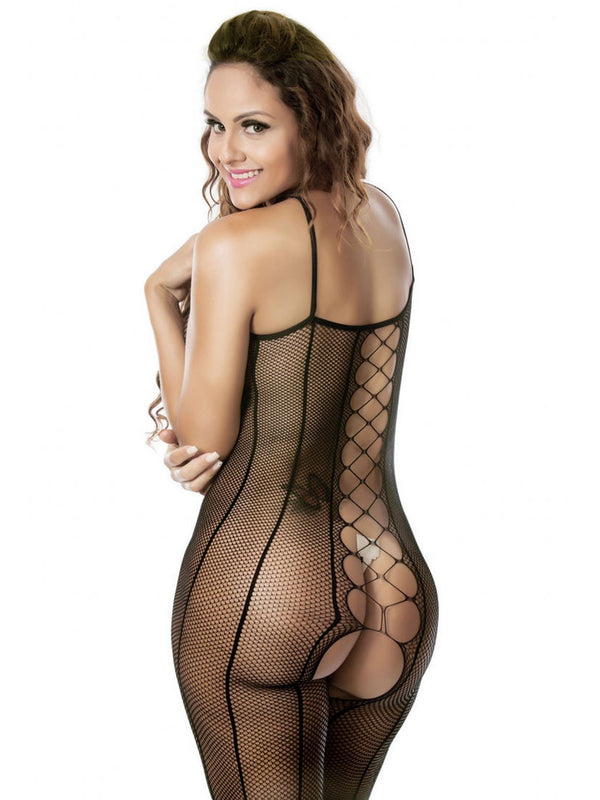 Crotchless Lace Geometric Spandex Tight Wrap Teddies & Bodysuits