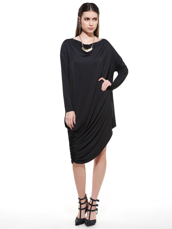 Size L Round Neck Knee-Length Long Sleeve Asymmetrical Regular Dress