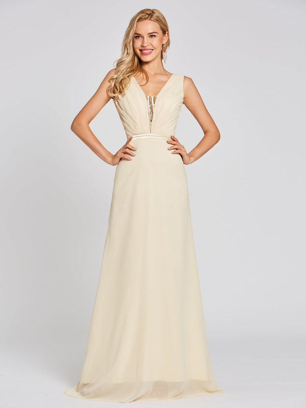 Floor-Length Sequins Sleeveless Yellow Evening Party Dress
