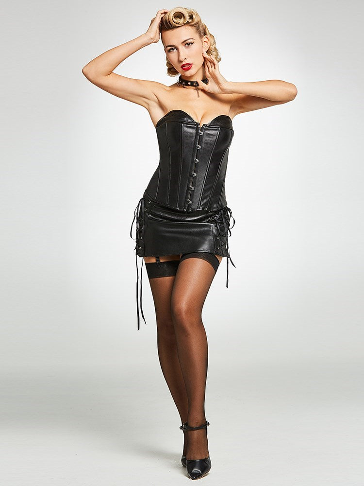 Size S L Zipper Plain Leather Corset Dress Corsets