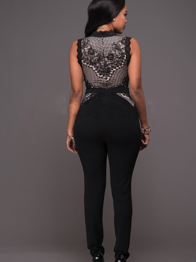 Size S Plain Full Length Lace Skinny Petite Jumpsuit