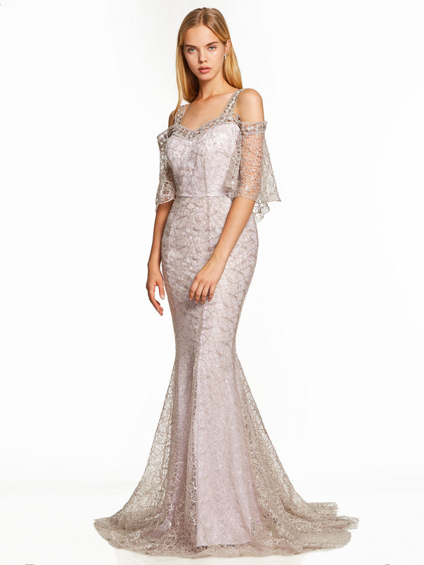 Floor-Length Sweep/Brush Lace Straps Evening Party Dress