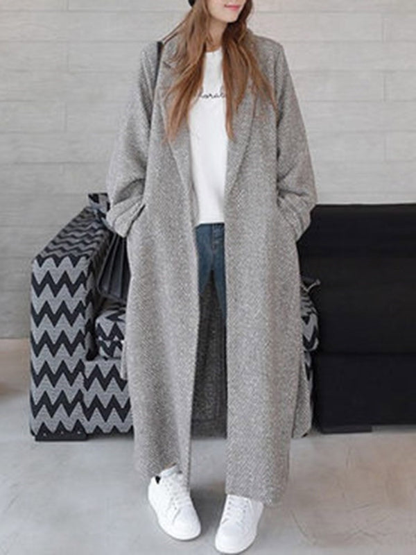 Regular Pocket Straight Winter Long Overcoat