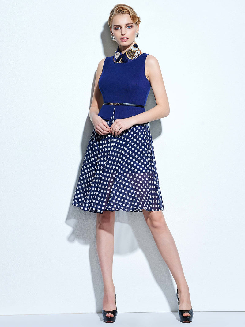 Size S Patchwork Round Neck Mid-Calf Expansion Pullover A-Line Dress