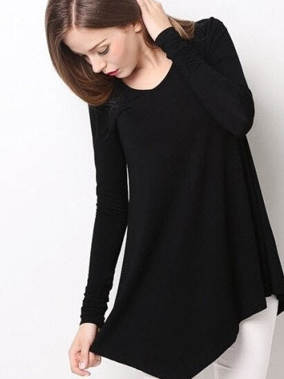 Round Neck Mid-Length Long Sleeve Loose T-Shirt
