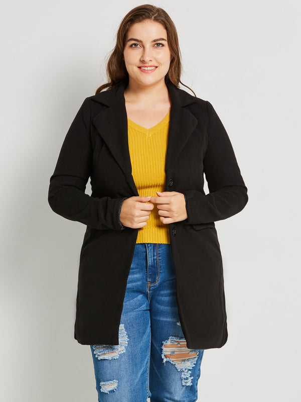 Plus Size 3XL Single-Breasted Straight Patchwork Notched Lapel Long Overcoat