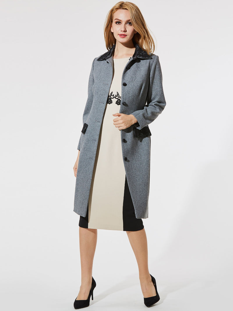Size XL Regular Single-Breasted Patchwork Lapel Long Overcoat