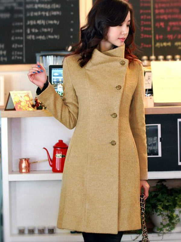 Size XL Single-Breasted Straight Mid-Length Winter Overcoat