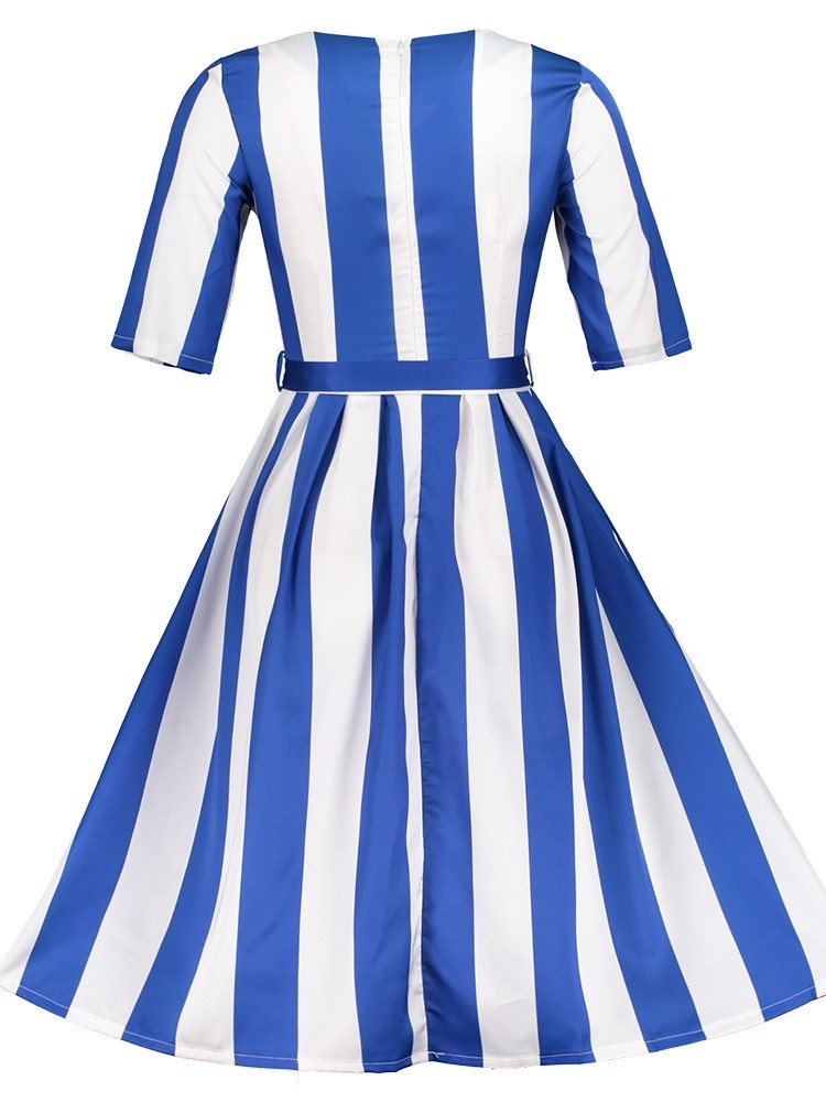 Belt Half Sleeve Mid-Calf Stripe Regular Dress