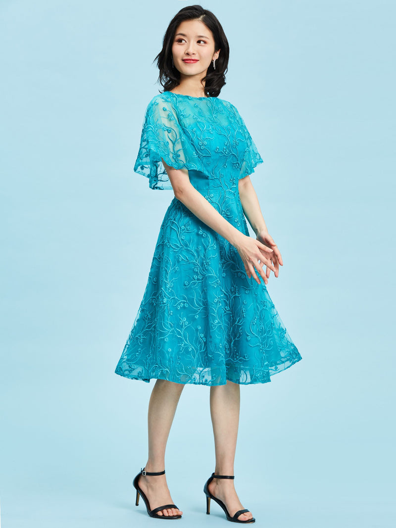 A-Line Short Sleeves Knee-Length Embroidery Formal Party Dress