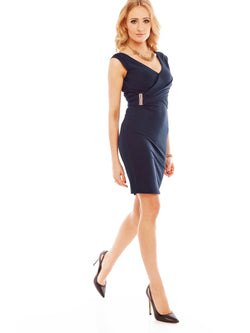 Size M Mid-Calf V-Neck Sleeveless Bodycon Wear to Work/Workwear Dress