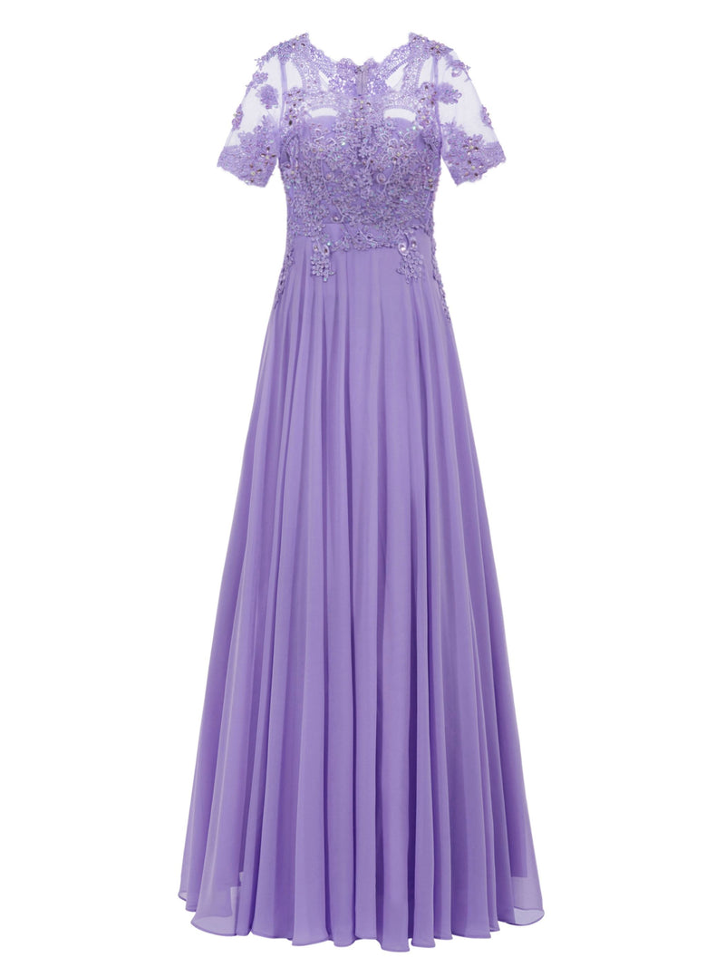 Size US6 Scoop Blue Ankle-Length Beading Evening Party Dress