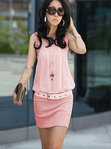 Size L XL Sleeveless Round Neck Above Knee Bodycon Summer Dress