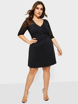 Plus Size Half Sleeve V-Neck Mesh Summer Plain Dress
