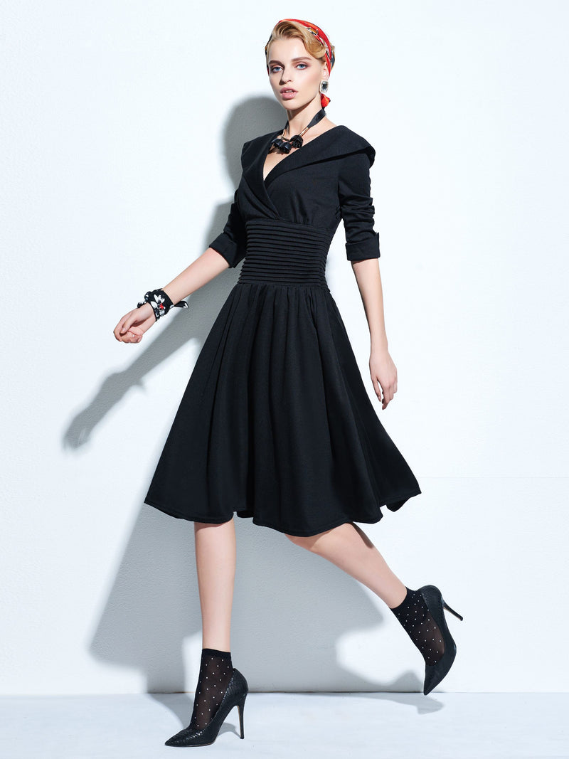 Size M L Three-Quarter Sleeve Ankle-Length A-Line Plain Dress