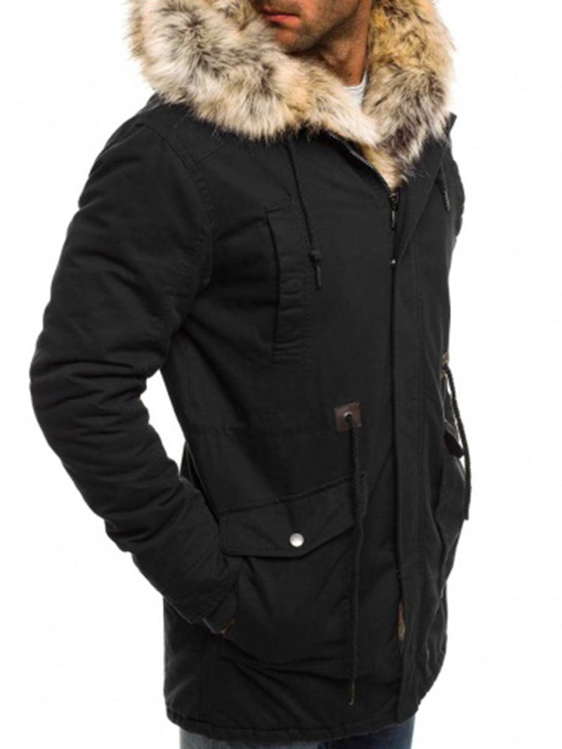 Plain Hooded Mid-Length Zipper Down Jacket