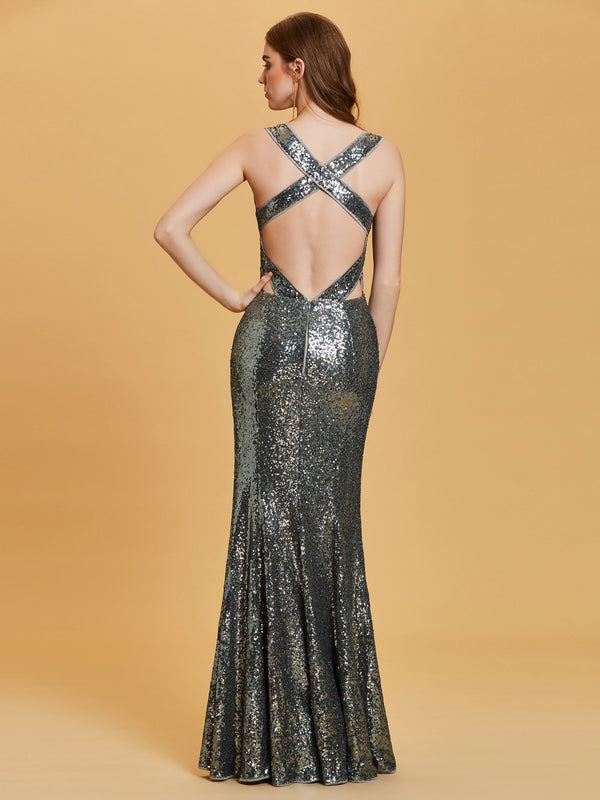 Gray Sequins V-Neck Floor-Length Evening Party Dress