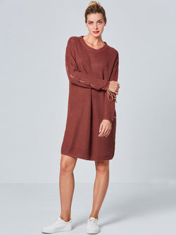 Size M Round Neck Long Sleeve Lace-Up Pullover Straight Dress