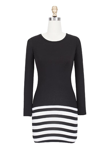 Size XL Long Sleeve Above Knee Bodycon Pullover Dress