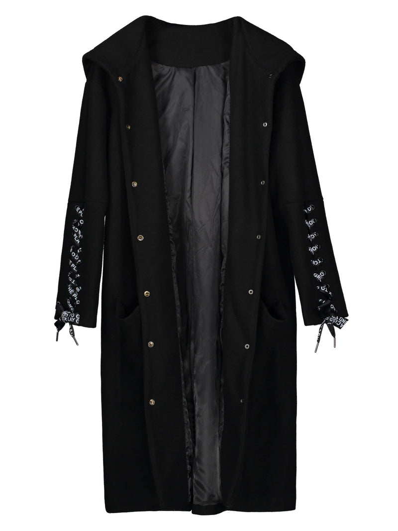 Size L Lace-Up Single-Breasted A Line Hooded Long Overcoat