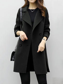 Wool Blends Slim Long Sleeve Mid Length Regular Women's Overcoat