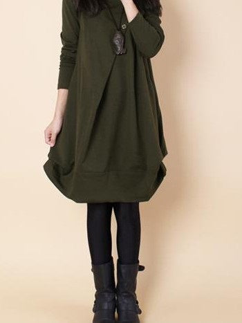 Size 2XL Green Knee-Length Long Sleeve Asymmetrical Mori Girl Dress