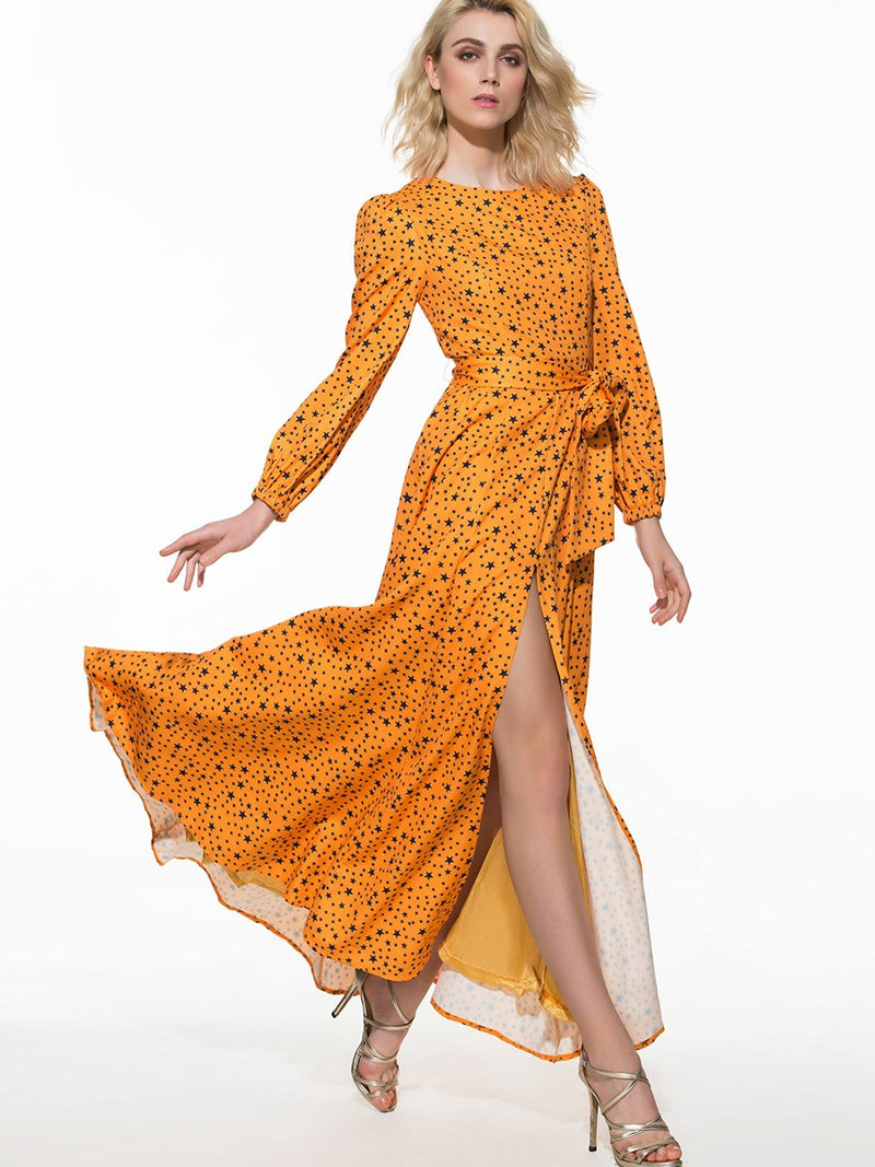 Size L Floor-Length Long Sleeve Pullover Beach Dress
