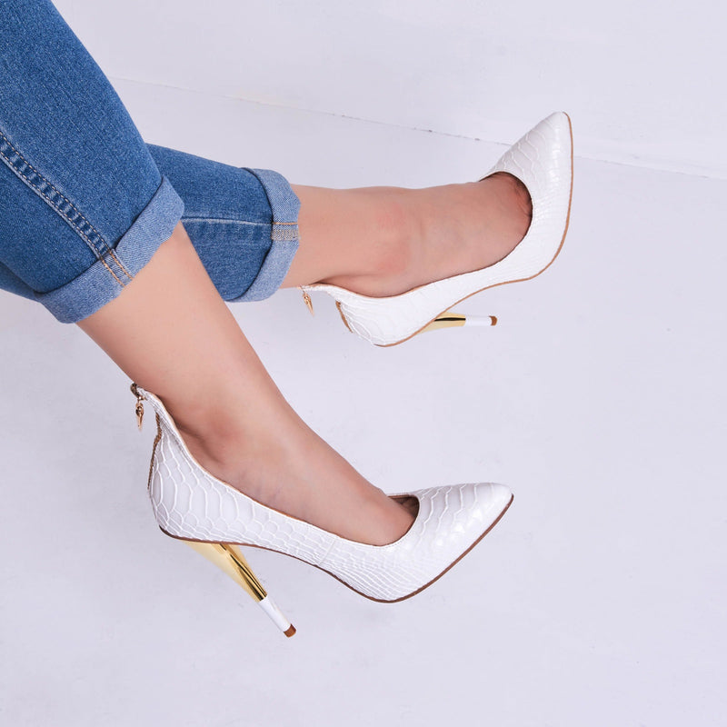 Pointed Toe Zipper Slip on Sexy Cone Heels Prom Shoes