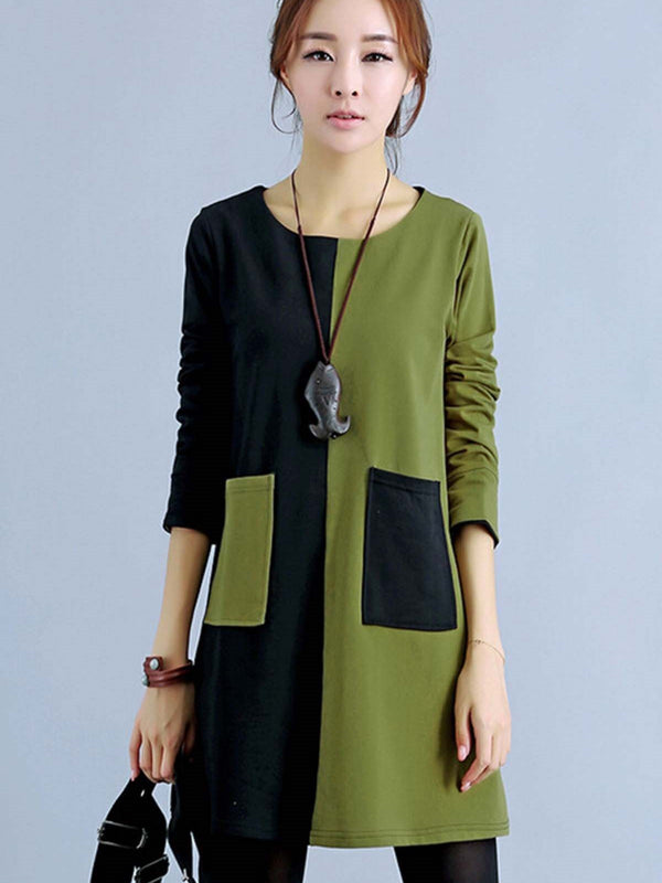 Size S 3XL Long Sleeve Patchwork Above Knee Summer Straight Dress